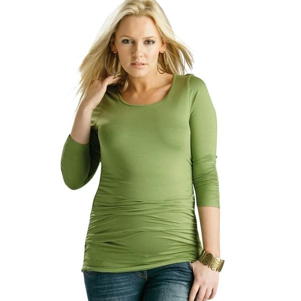 Äitiyspaita pitkähihainen Ruched Top (vihreä)
