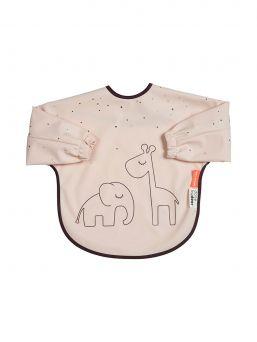 Done By Deer Dreamy Dots pitkähihainen ruokalappu, joka on helppo puhdistaa. Soveltuu täydellisesti lapsen maalaus- ja askartelupuuhiin. Lapsi ei sotke vaatteitaan - suojaa pitkähihaisella ruokalapulla lapsen vaatteet.