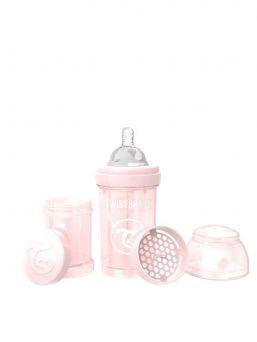 TwistShake pearl pink tuttipullo on mahtava lisä rintaruokinnan rinnalle. TwistShake tuttipullo pakkaus sisältää lisäksi hyödyllisen säilytyspurkin jossa voi kuljettaa maitojauhetta.