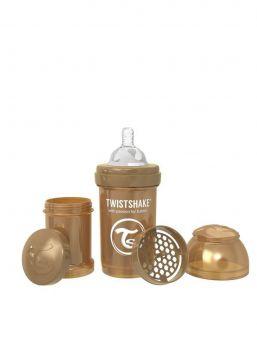 TwistShake Pearl Copper tuttipullo on mahtava lisä rintaruokinnan rinnalle. TwistShake tuttipullo pakkaus sisältää lisäksi hyödyllisen säilytyspurkin jossa voi kuljettaa maitojauhetta.