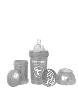 TwistShake pearl grey tuttipullo on mahtava lisä rintaruokinnan rinnalle. TwistShake tuttipullo pakkaus sisältää lisäksi hyödyllisen säilytyspurkin jossa voi kuljettaa maitojauhetta.
