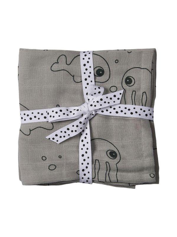 Harsoliina 2-pack 70x70 (Sea friends harmaa ) | Done By Deer