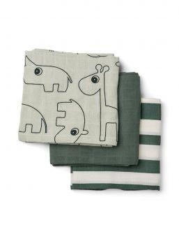 Harsoliina 3-pack 70x70 (Deer friends vihreäraita) | Done By Deer