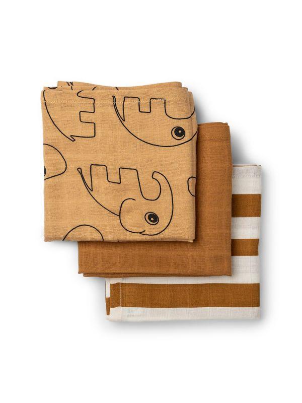 Harsoliina 3-pack 70x70 (Deer friends sinappiraita) | Done By Deer