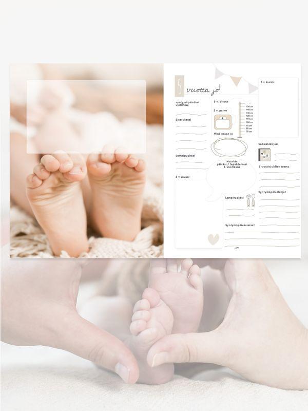 Kaunis Pieni & Täydellinen vaaleansävyinen vauvakirja. Vauvakirja, joka suunniteltu helpoksi täyttää aina lapsen kouluikään saakka. Ihana lahjaidea Baby Showereihin, kastelahjaksi tai tuoreelle vauvaperheelle!