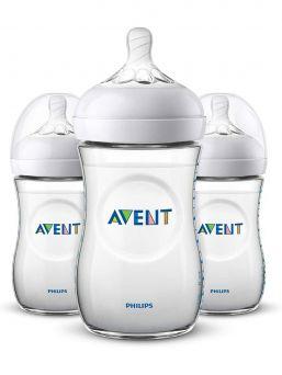 Avent Philips Natural tuttipullo, joka kasvaa lapsen iän myötä. Tripla pakkaus sisältää 3 pulloa.