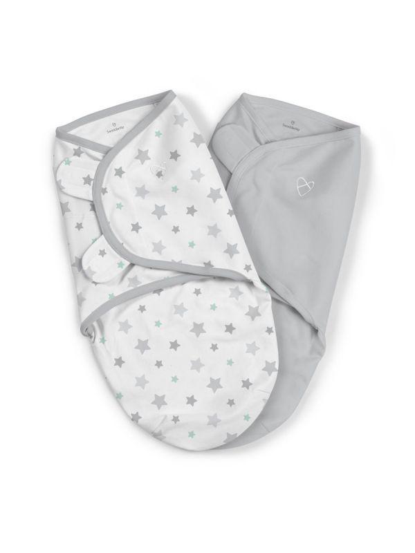 SwaddleMe vauvan kapalo, joka rauhoittaa ja luo turvallisen olon vauvalle. Materiaalina hengittävä puuvilla. Tuplapakkaus.