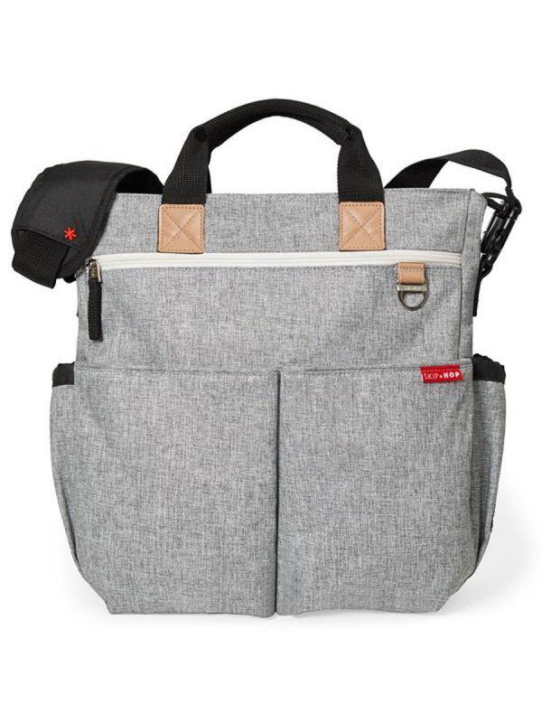 Duo Signature Grey Melange hoitolaukku, joka helppo kiinnittää lastenvaunuihin. Sisältää vaipanvaihtomaton.