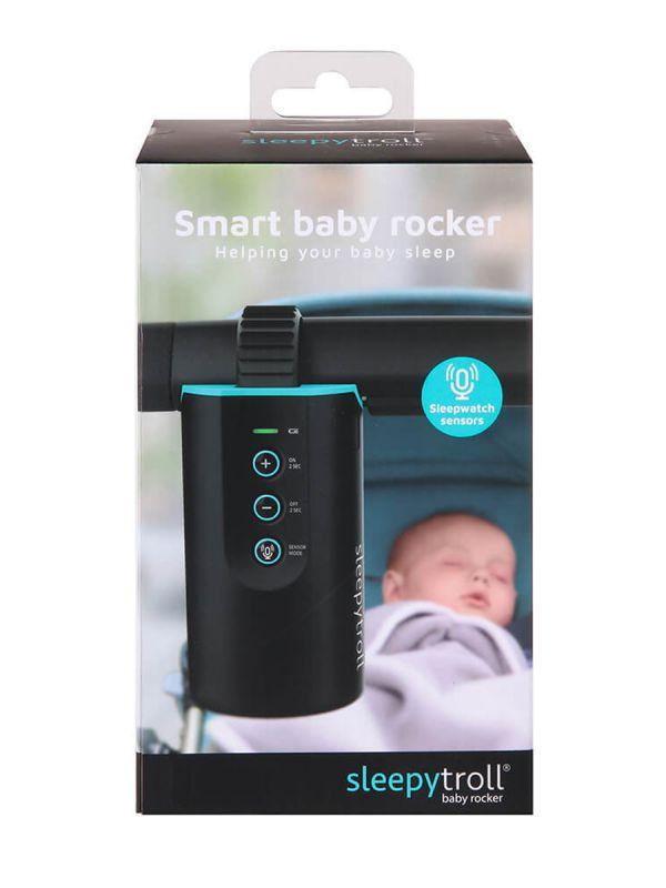 Sleepytroller vaunujen keinuttaja. Yksinkertaisesti kiinnitä keinuttaja vaunuihin ja katso kuinka vauvasi nukahtaa mukavaan keinutukseen. Kätevät ääni- ja liikesensorit havaitsevat, kun lapsesi itkee tai liikkuu, ja aloittaa automaattisesti hiljaa keinuttamaan vaunuja ennen kuin lapsi herää kokonaan.