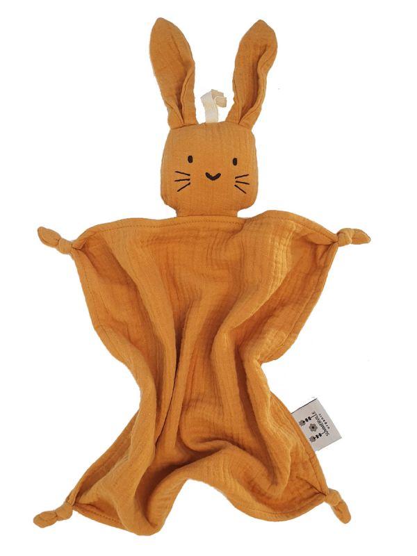 Summerville Cuddle rabbit. Lapselle puuvillainen ja pehmeä unipupu, Pitkäkorvat ja viltin solmut antavat paljon tekemistä ja ihmettelemistä pienille sormille.