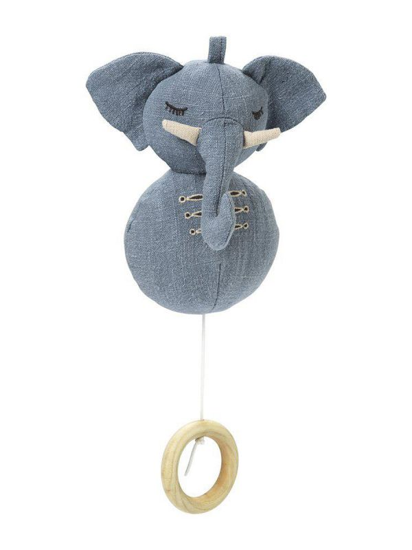 Kaunista sävelmää soittava pehmeä Elodie Details Hugo norsu soittorasia. Suloinen farkkukankainen norsu, jonka narua vetämällä saat kauniin sävelmän soimaan.
