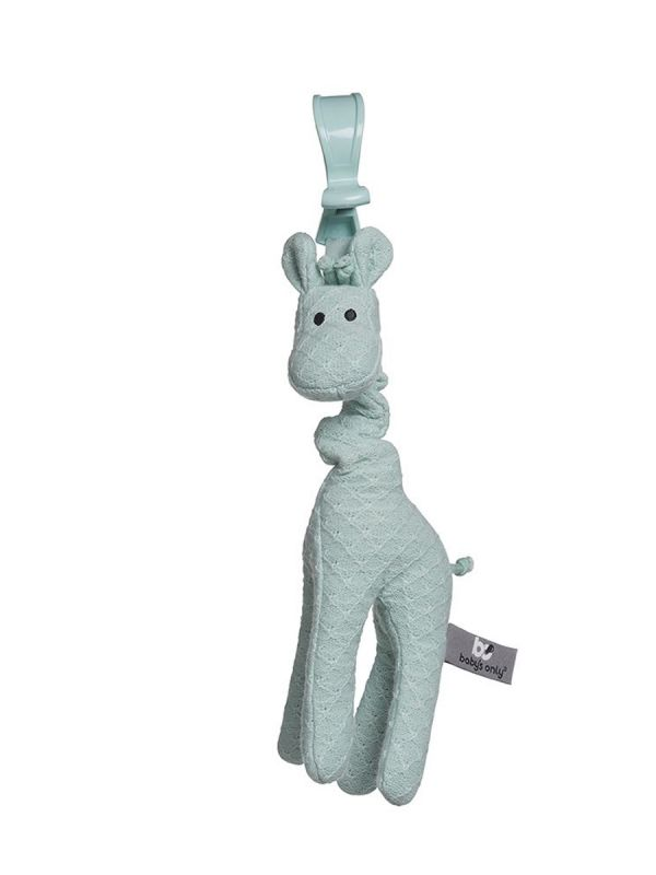 Suloinen Baby´s Only kirahvi pitää seuraa lapselle pidemmilläkin reissuilla. Pitkäjalkainen kirahvi värisee kun kirahvin päästä vetää, venyttää kaulaa ja päästää lopuksi irti. Kirahvin värinä tuntuu jännittävältä ja aika kuluu rattoisasti kirahvilla leikkien.