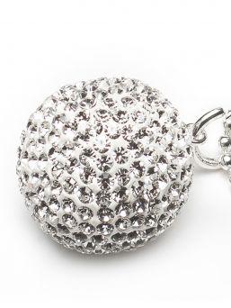 Bolakoru äidille hopeaketjulla, kristalli valkoinen | PROUD MAMA