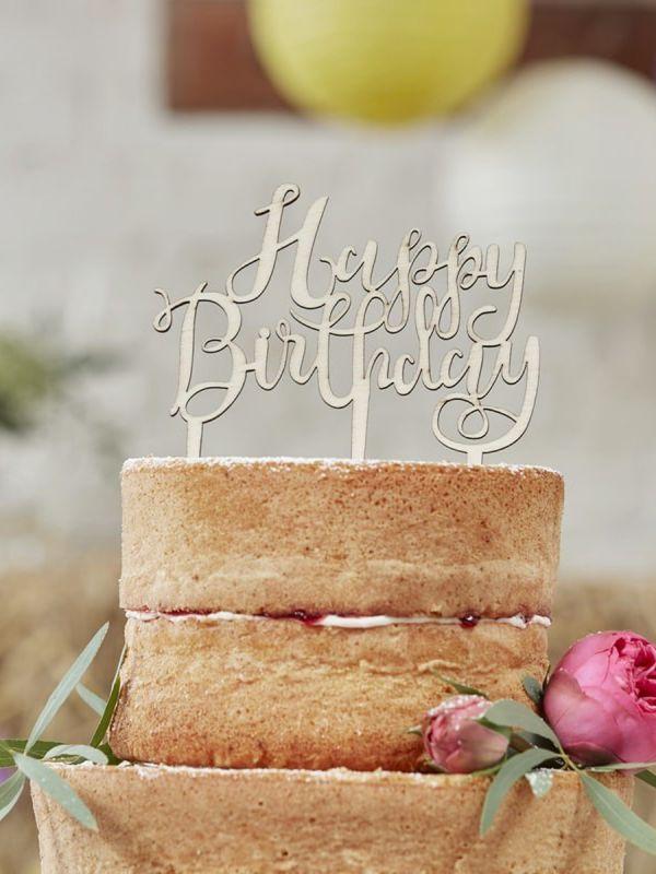 Happy Birthday! puinen kakunkoriste