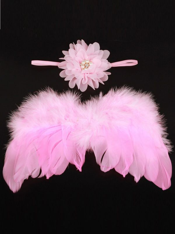 Vauvan enkelin siivet ja kaunis pääpanta, jossa helmikoristus. Ota suloiset vauvakuvat enkelin siivin.