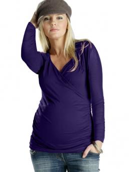 Äitiys- ja imetyspaita pitkähihainen Cross over top (violetti)