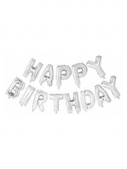 Happy Birthday viiri kiiltävistä foliopalloista!