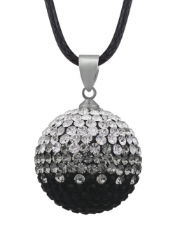 BOLA - kristalli 18mm (musta-hopea)