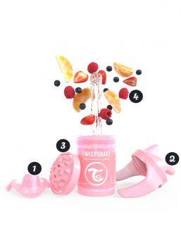 Twistshake Cup nokkamuki 230ml 4+m Non Spill, Pearl Pink