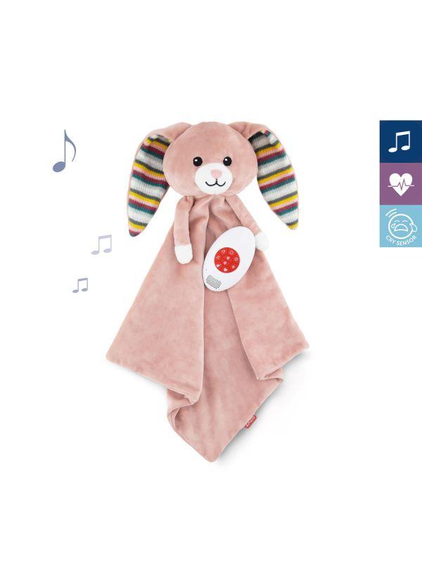 Pehmeä vauva uniliina, jonka mukana kuljettava musiikkilaite josta saat rauhoittavia ääniä mukanasi minne tahansa. Laitteessa suosituin White Noise kohina ääni rauhoittamaan lastasi.