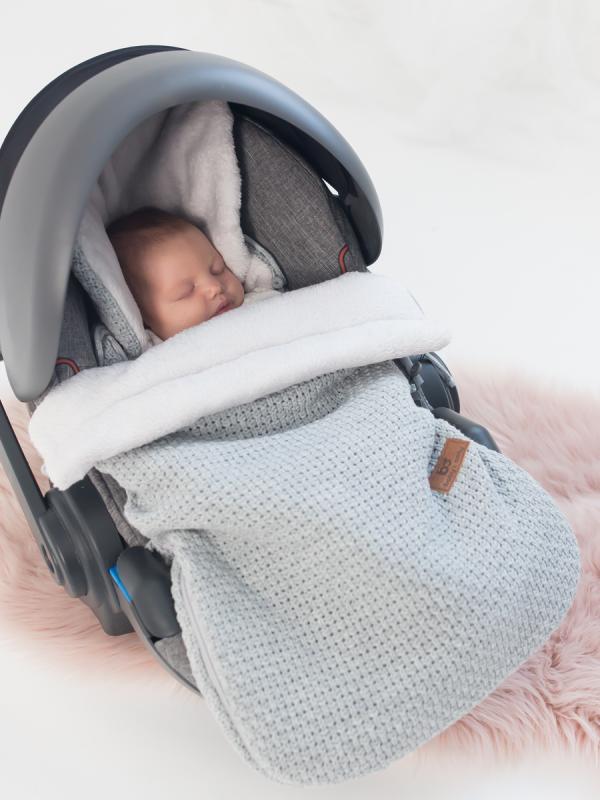 Lämpöpussi turvakaukaloon/ vaunuihin palmikkoneulos | Baby's Only (FLAVOR harmaa)