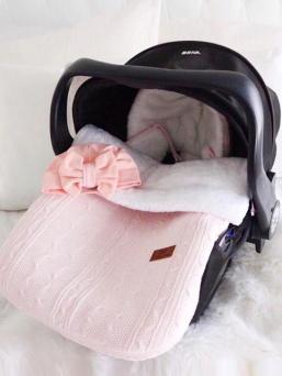 Lämpöpussi turvakaukaloon/ vaunuihin palmikkoneulos   Baby's Only (hempeä classic pink)