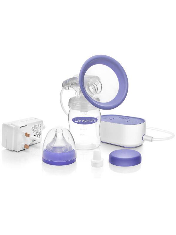 Lansinoh Single sähkökäyttöinen rintapumppu. Tehokas pumppaus jäljittelee vauvan luonnollista imemistä. Herutustoiminto ja säädettävä imuteho.
