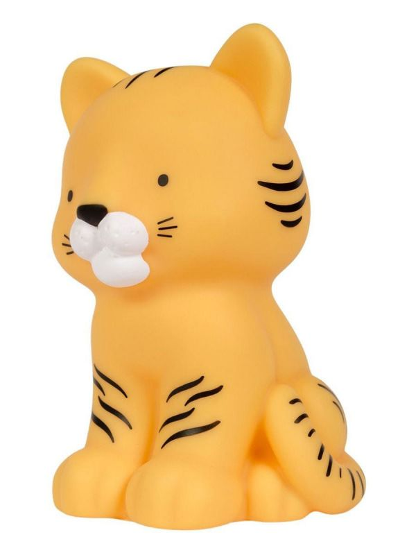 A LITTLE LOVELY COMPANY  Pieni suloinen tiikerin poika on ihana yksityiskohta pienen yöpöydällä. Valo hehkuu pehmeästi ja auttaa lasta nukahtamaan.