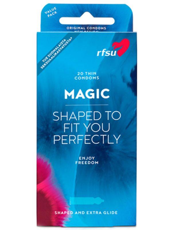 Magic Kondomi puristaa parhaasta paikasta. Magic kondomi on kapeampi kärkiosastaan, missä tuntoherkkyys on suurin.