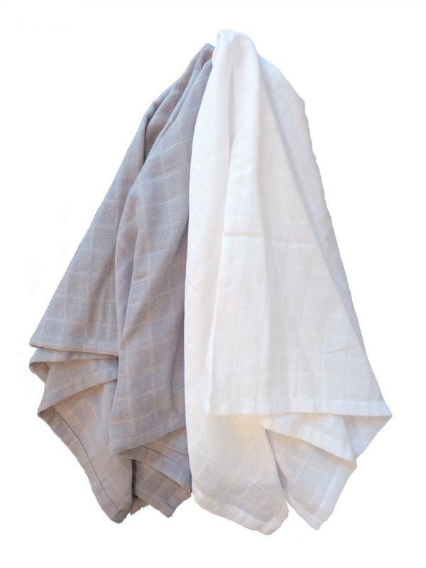 Puuvillainen harsosetti 2-pack, harmaa