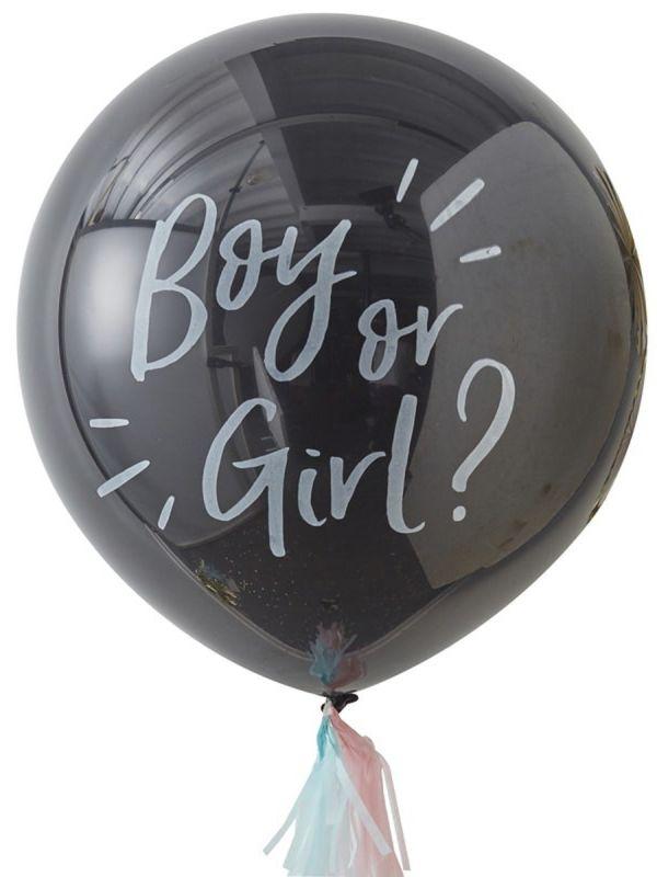 Vauvan sukupuolen paljastava jättipallo. Upea tapa paljastaa tulevan vauvan sukupuoli. Vieraat eivät pysty mustasta jättipallosta päättelemään päällisinpuolin vauvan sukupuolta, ainoastaan pallon puhkaisun jälkeen ilmestyvä sininen tai pinkki konfettisade kertoo vauvan sukupuolen vieraille.