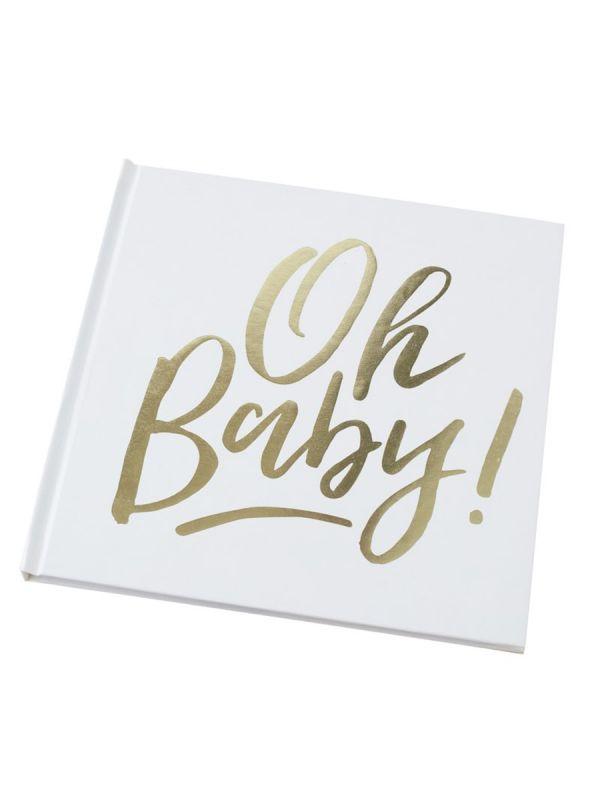 Ainutlaatuinen, valkoinen vieraskirja kauniillta Oh Baby! -tekstillä. Vieras on täydellinen kaikkiin vauvajuhliin, se soveltuu niin Babyshower, kaste- kuin yksivuotisjuhlaankin. Kirjassa 32 tyhjää sivua joista saat juuri omannäköisesi koristelulla ja vieraiden kirjoitusten avulla. Ihana muisto!