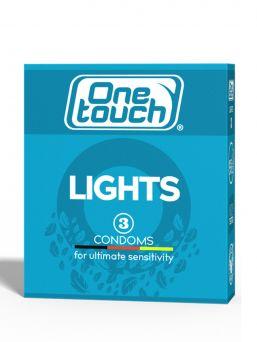 ONE TOUCH Lights uuden teknologian avulla valmistetut erittäin ohuet kondomit äärimmäiseen herkkään tunnelmaan turvallisuudesta tinkimättä. Liukastettu silikoniöljyllä.