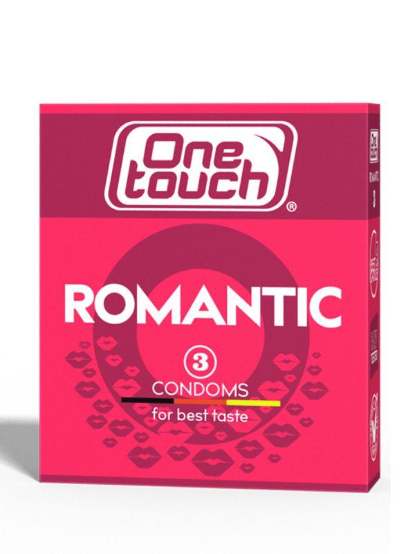 One touch ROMANTIC -makukondomi. Kondomien sisältämän liukuvoiteen romanttinen mansikan maku nostaa tunnelmaa ja lisää jännitystä.