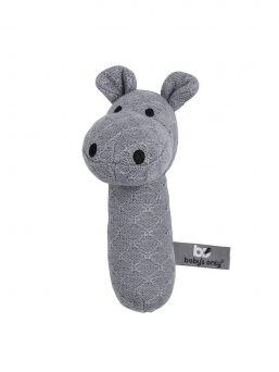 Pehmeä Baby´s Only virtahepo helistin pitää helistin ääntä kun vauva liikuttaa helistintä pienin sormin. Materiaali on turvallista, joten helistintä voi myös purra jos vauvan ikeniä kutittaa.