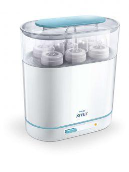 Avent höyrysterilointilaite, joka steriloi tutit, tuttipullot ja rintapumput sähkölaitteella. Ei veden keittämistä ja kuumia vesiä.