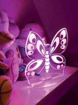Aloka LED yövalo kaukosäätimellä (perhonen)