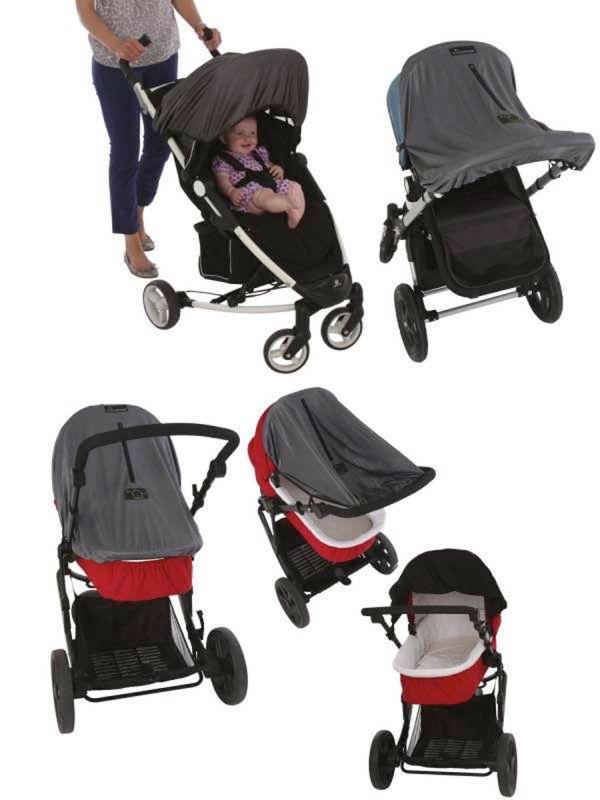 SnoozeShade Orginal Deluxe vaunun pimennysverhon avulla lapsesi saa hyvät päiväunet reissun päällä rattaissa ja verho suojaa myös lastasi auringon UV-säteiltä.