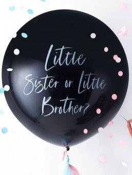 Upea tapa paljastaa tulevan vauvan sukupuoli, vauvan sukupuolen paljastava jättipallo. Vieraat eivät pysty mustasta jättipallosta päättelemään päällisinpuolin vauvan sukupuolta, ainoastaan pallon puhkaisun jälkeen ilmestyvä sininen tai pinkki konfettisade kertoo vauvan sukupuolen vieraille. Mukana sekä siniset että vaaleanpunaiset konfetit.
