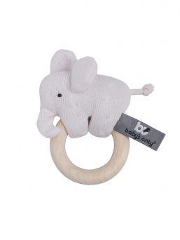 Baby's Only Elefantti rengashelistin. Puinen sileä rengas on turvallinen ja sitä voi leikin aikana pureskellakin. Lisäksi helistimen norsussa on ihania pieniä ihania yksityiskohtia, kuten hännän solmu ja pitkä kärsä,  joita vauva voi pienin sormin tutkia ja ihmetellä.