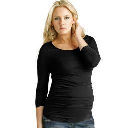 Äitiyspaita pitkähihainen Ruched Top (musta)