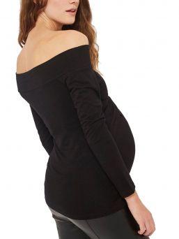 Bardot Off Shouler Maternity Top, musta | FUNMUM
